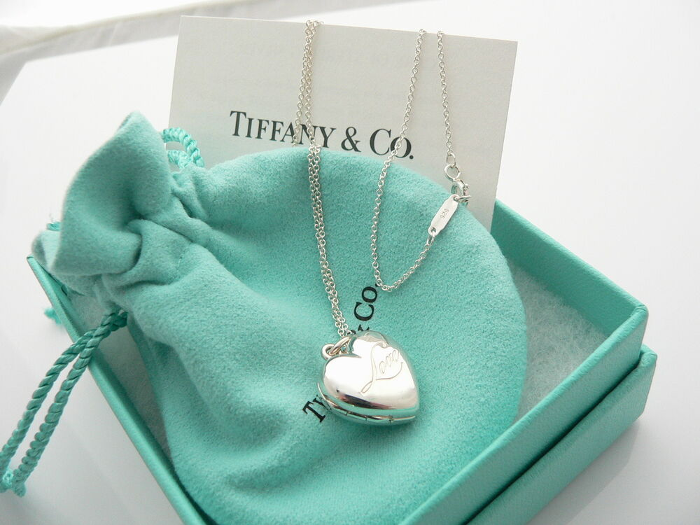 Tiffany co silver heart love locket necklace pendant charm 1825 tiffany co silver heart love locket necklace pendant charm 1825 in chain ebay aloadofball Choice Image
