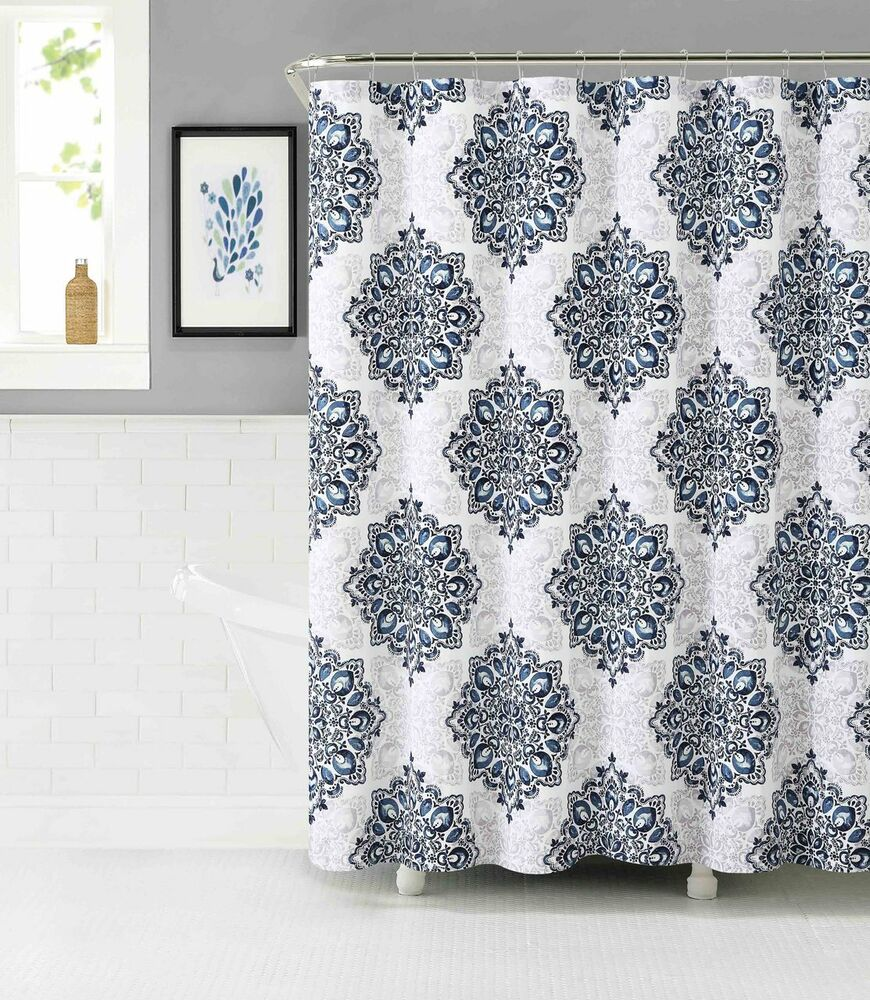 tranquility fabric shower curtain navy white and mauve gray