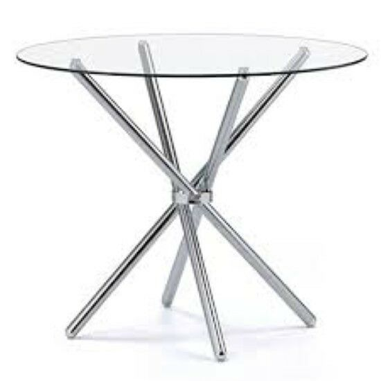 Casa glass round dining table with chrome legs toughened for Round glass and chrome dining table