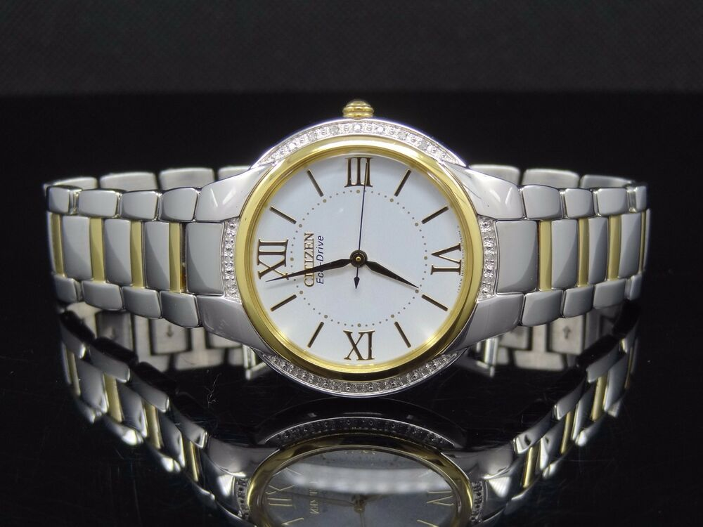 citizen em0094 56a s ciena 20 diamonds gold silver