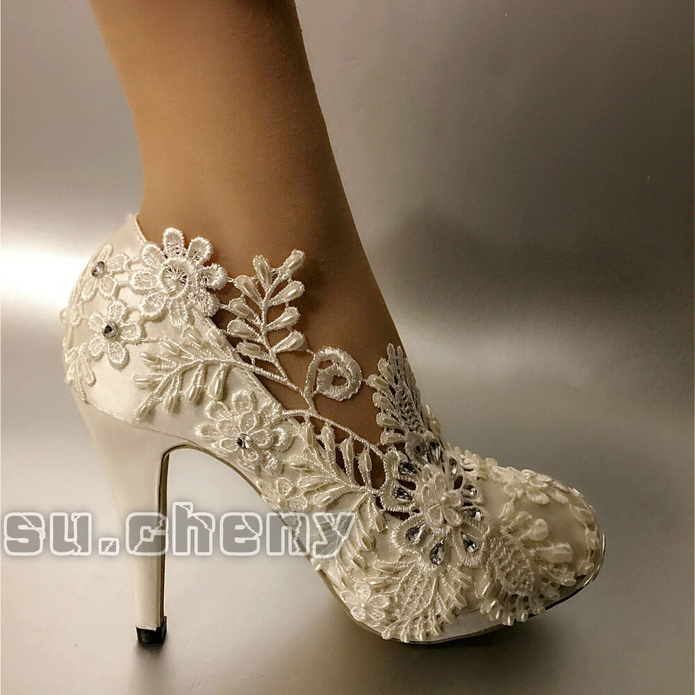 White Pearl Silk Lace Wedding Shoes Bridal Flats Low Heel