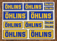 OHLINS STICKER SETS - SHEET OF 12 STICKERS - DECALS - Motorcycling