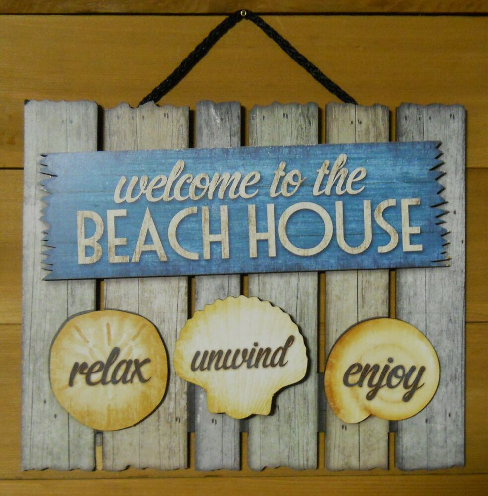 Welcome To Our Beach House Sign: 3D Wood Sign WELCOME TO THE BEACH HOUSE, Relax, Unwind