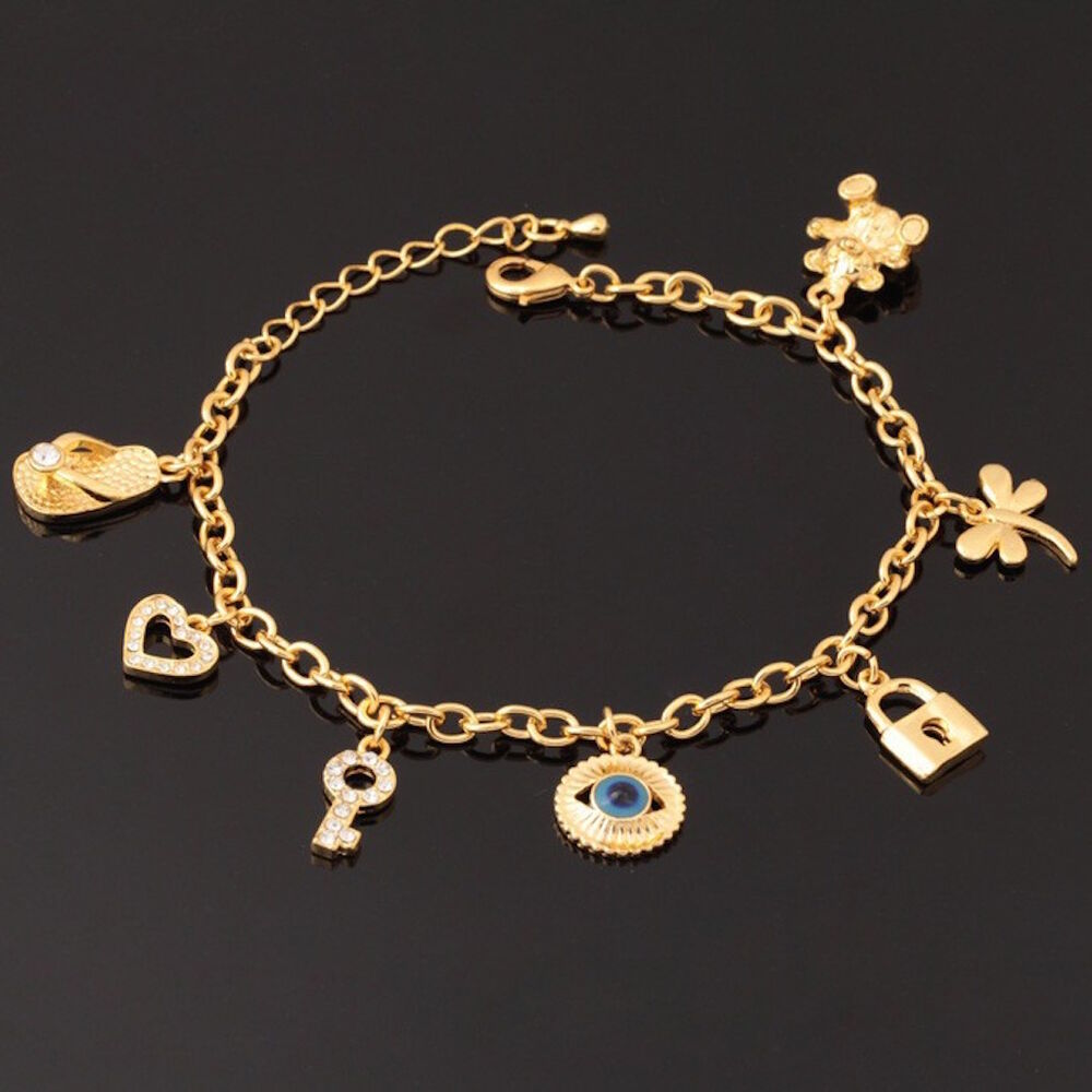 18K Gold Plated Women's Unisex Heart Bear Charm Bracelet