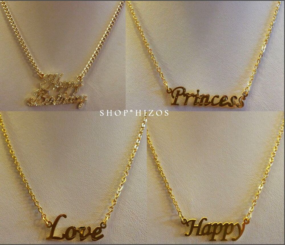 GOLD 18 CHAIN LINK NAME PLATE NECKLACE CRYSTAL HAPPY