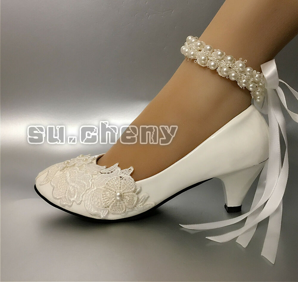 White Lace Rose Pearls Wedding Shoes Bridal Flats Low High