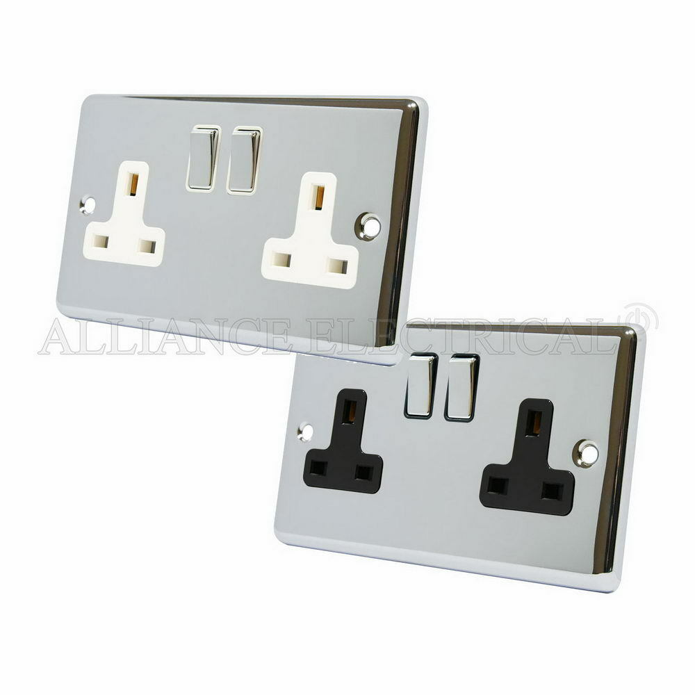 polished chrome classical 2 gang socket 13 amp double wall. Black Bedroom Furniture Sets. Home Design Ideas
