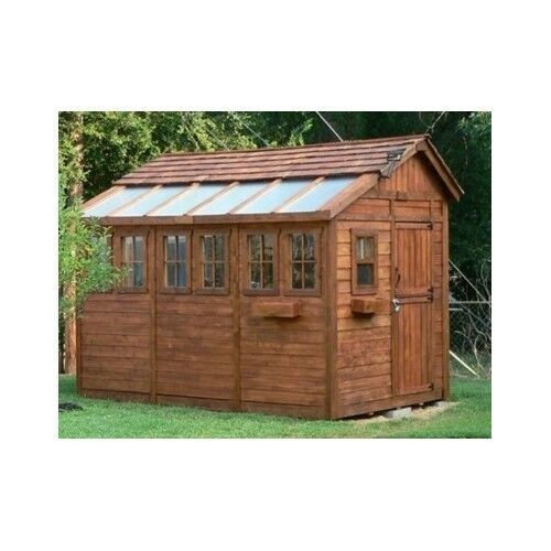 Garden building kit shed wood outdoor yard red cedar room for Garden rooms kits
