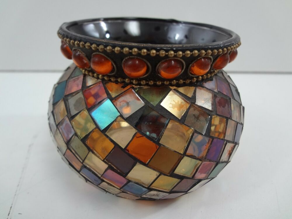 Partylite Small Crackled Glass Bowl Candle Holder