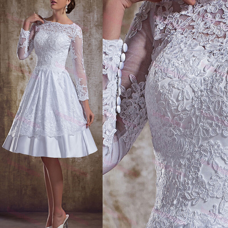 New long sleeve custom made backless bridal gowns tea for Lace sleeve backless wedding dress
