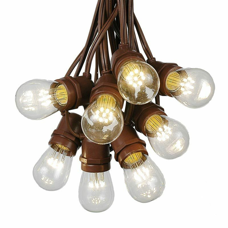 Outdoor Led Bulb String Lights : 100 Foot S14 Outdoor Globe String Lights - Set of 50 LED S14 Edison Bulbs eBay