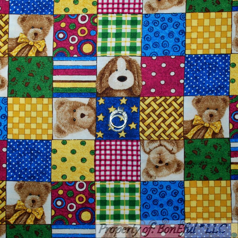 Boneful fabric fq cotton quilt baby bear boyds brown blue for Boy quilt fabric