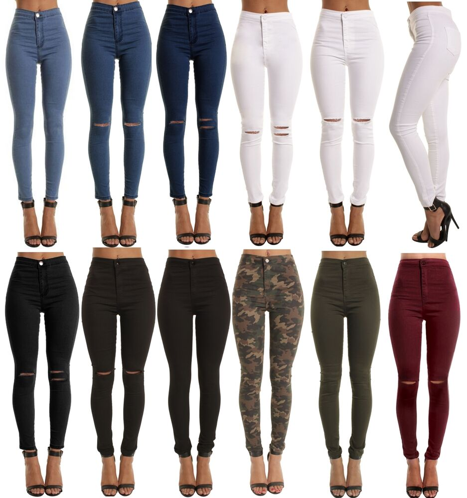 womens high waisted stretchy skinny jeans ladies jeggings. Black Bedroom Furniture Sets. Home Design Ideas