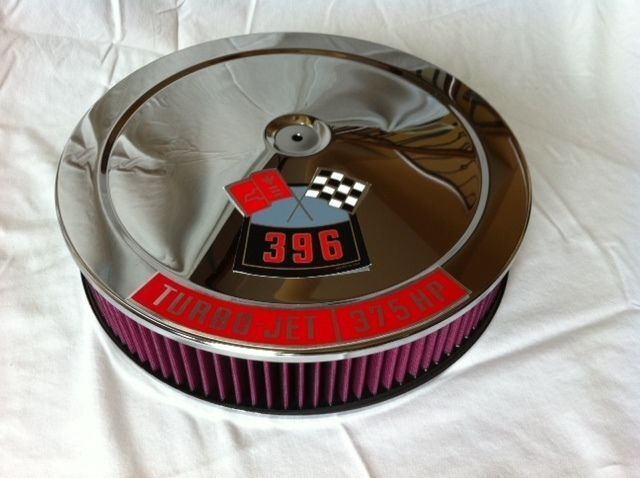 Chevy 350 Air Cleaner : Chrome air cleaner washable red filter edelbrock