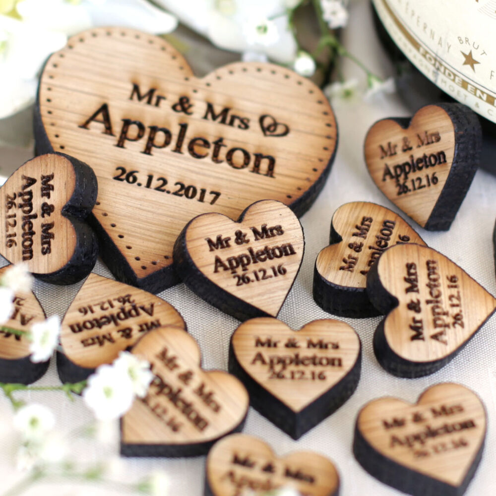 Personalised Love Hearts Wooden Wedding Table Decorations