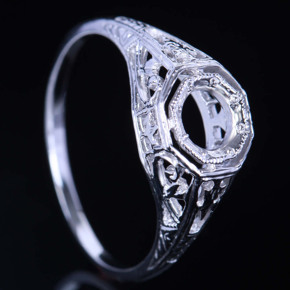 Solid 14k White Gold Vintage Filigree Art Deco Semi Mount