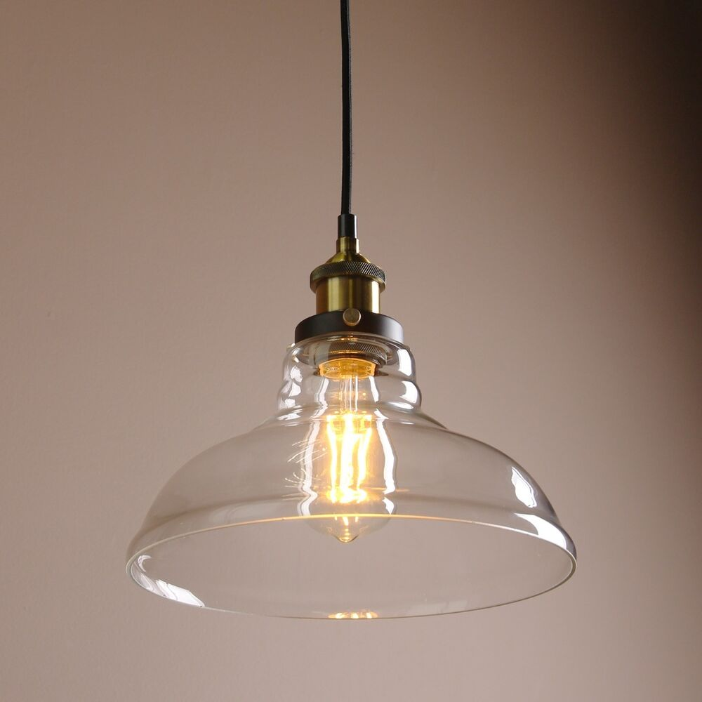 Vintage Industrial Cafe Bar Glass Metal Pendant Lamp Shade