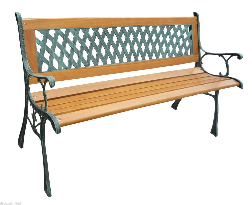 3 Seater Wood Lattice Park Garden Bench Outdoor Seat Furniture With Metal Frame Ebay