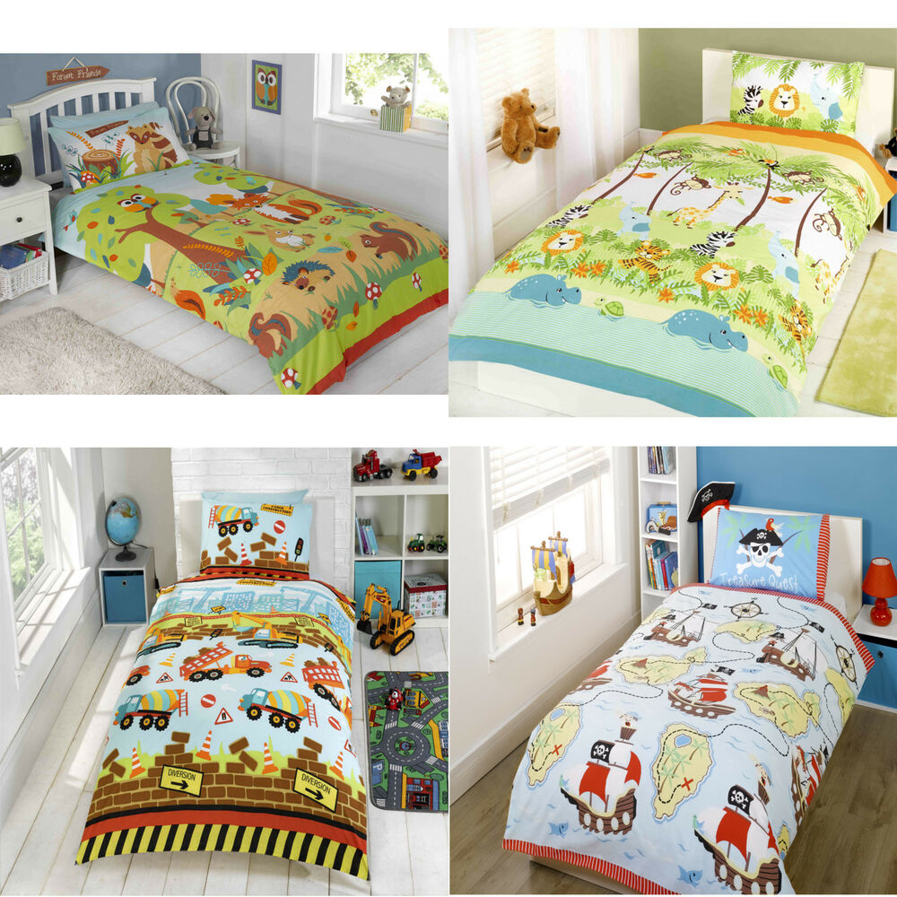 kids childrens duvet quilt cover bedding set and ...