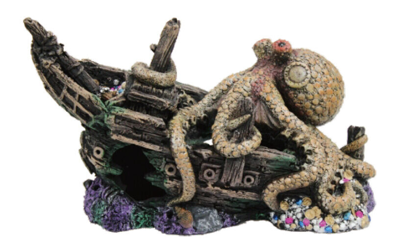 Sunken pirate ship w giant octopus fish tank ornament for Aquarium decoration ship