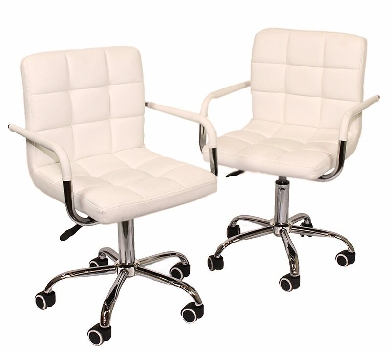 white leather swivel armchair set 2 modern office pu leather swivel armest chair 22013 | s l1000