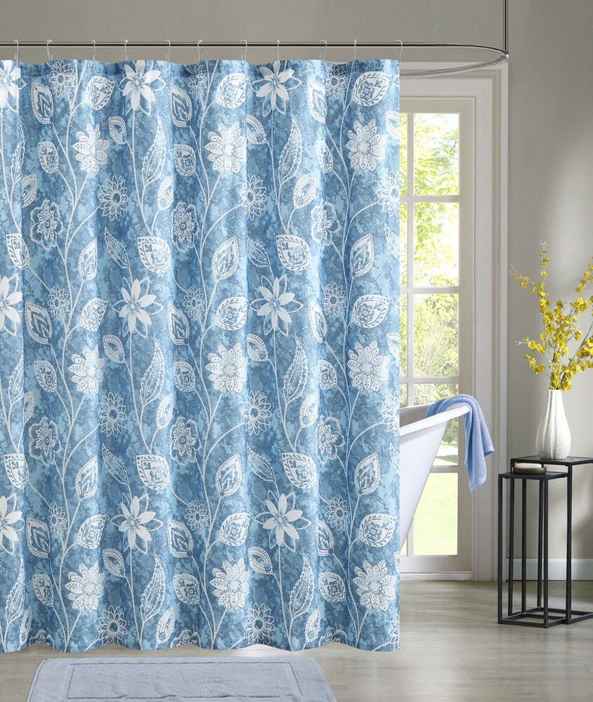 Blue Embossed Fabric Shower Curtain White Floral Design