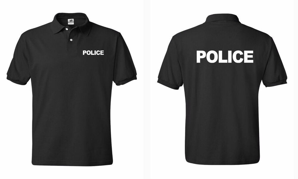 Police law enforcement polo t shirts s 5xl ebay for Embroidered police polo shirts