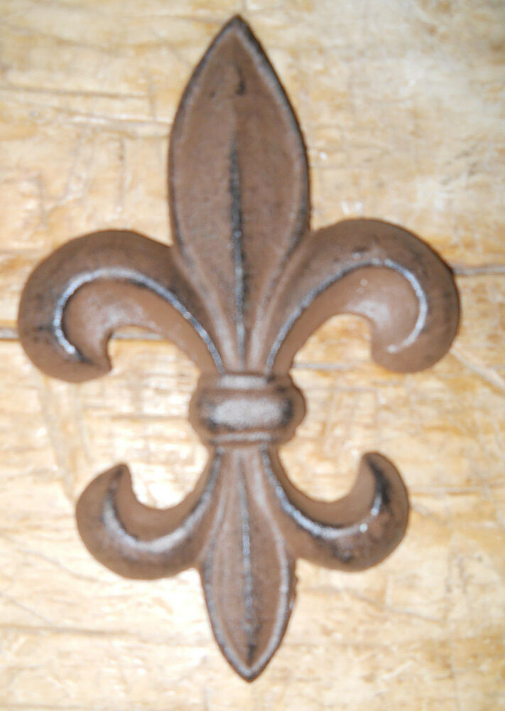 5 Cast Iron Antique Style Rustic Fleur De Lis Wall Decor