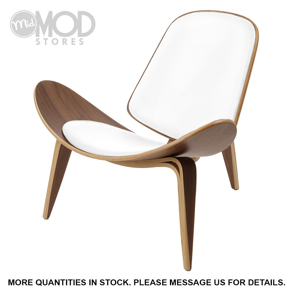 Mid century danish chair modern accent plywood chair for Mid century modern leather chairs