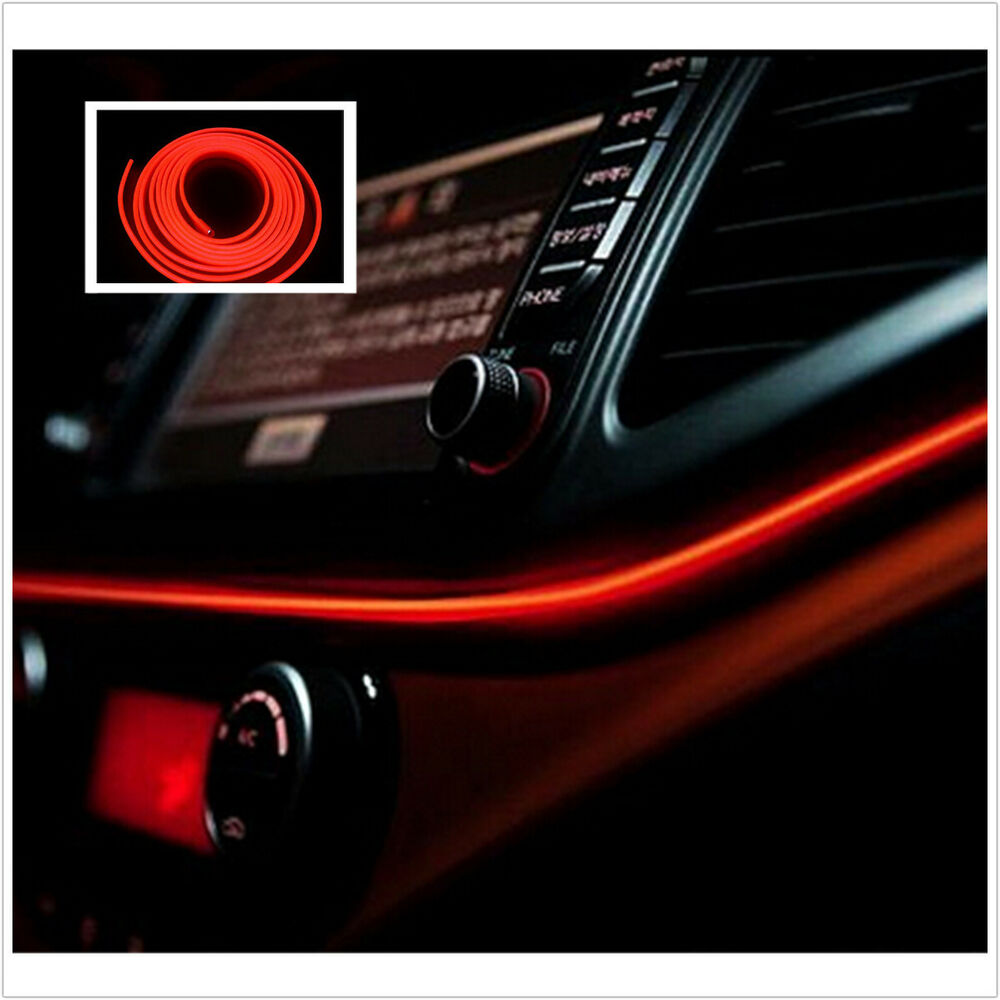2m red cold light lamp tape el wire car atmosphere lights interior unique decor ebay. Black Bedroom Furniture Sets. Home Design Ideas