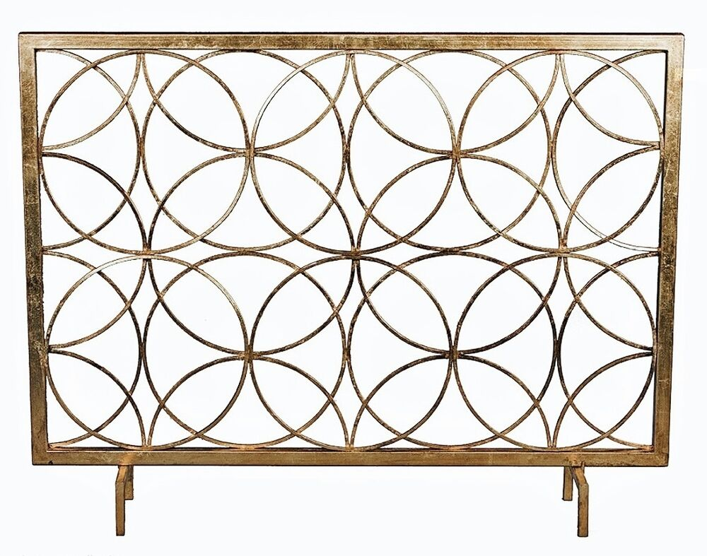 modern antique gold iron circles fireplace fire screen