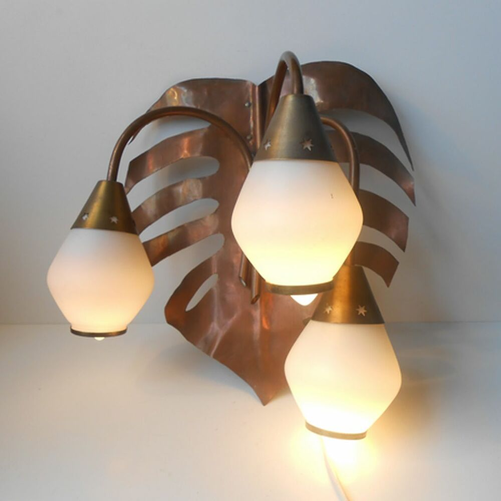 1960s Italian Pop Art Original Wall Light Brass Copper Glass Beauty