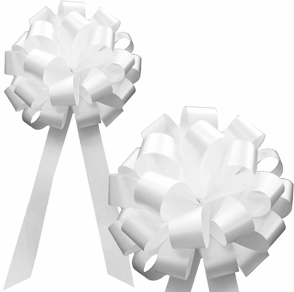 "Wedding Pew Decoration Ideas: 6 White 8"" Pull Bows Wedding Pew Chair Baby Shower Gift"
