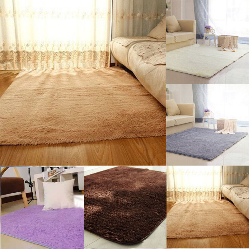 Fluffy Anti Skid Shaggy Area Rug Dining Living Room Carpet Comfy Bedroom Floor Ebay