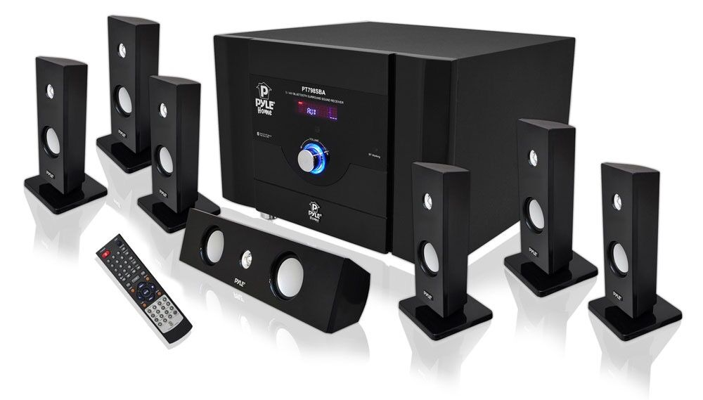 pyle bluetooth 7 1 ch 500w home theater system stereo speaker surround sound new ebay. Black Bedroom Furniture Sets. Home Design Ideas