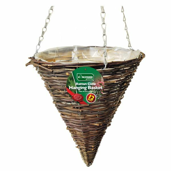 Hanging Flower Baskets Cone Shaped : Quot cone shaped dark rattan hanging basket with liner