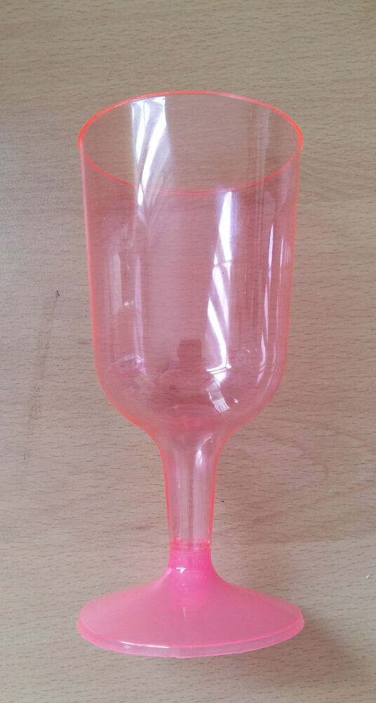 10 20 50 100 Plastic Wine Neon Pink Glasses Disposable