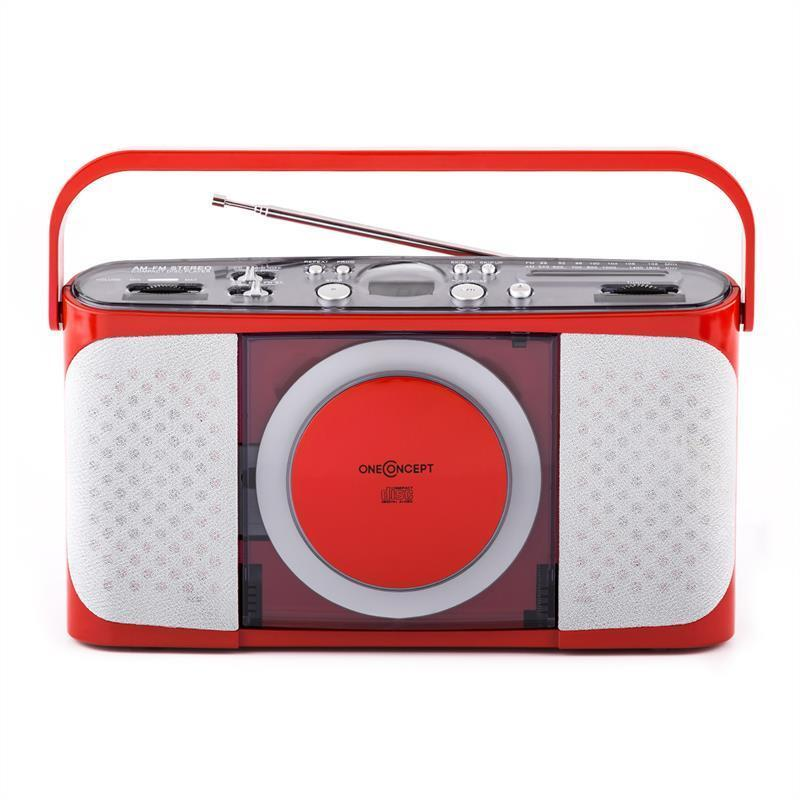 compact portable retro am fm radio tuner cd player travel stereo retro red ebay. Black Bedroom Furniture Sets. Home Design Ideas