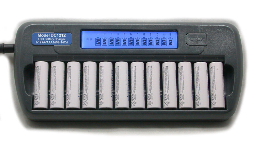 12 Slot 12 Bank Dc1212 Fast Lcd Battery Charger Aa Aaa
