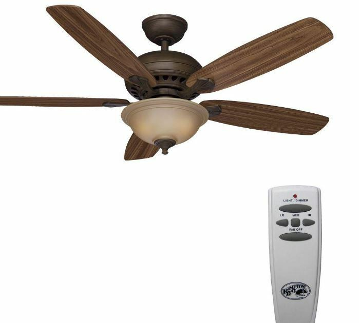 Oak Ceiling Fans With Lights : Ceiling fan in with lights remote blades walnut