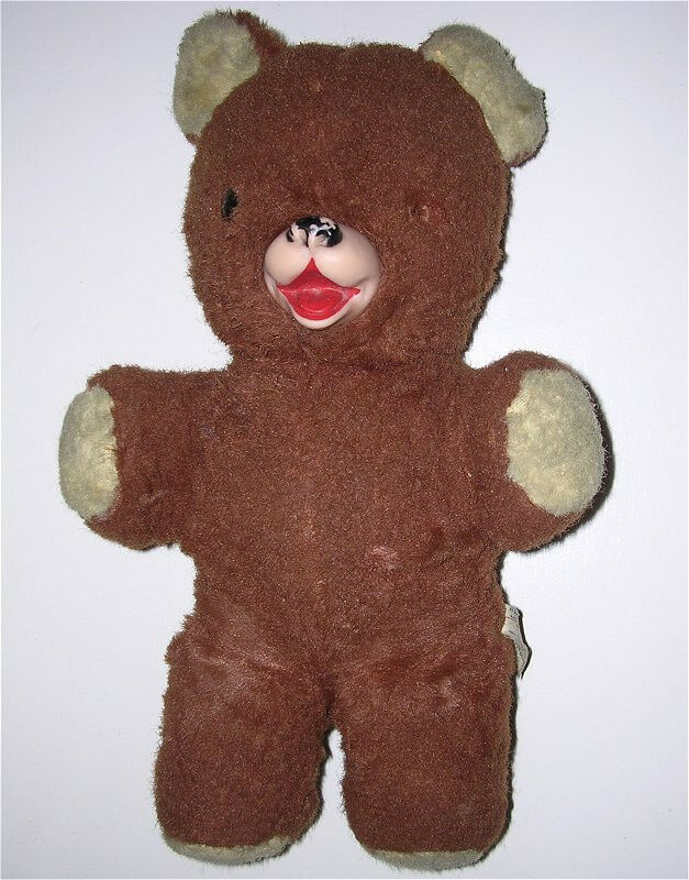 Vintage Stuffed Teddy Bear By Ideal Toy Corp Rubber Nose