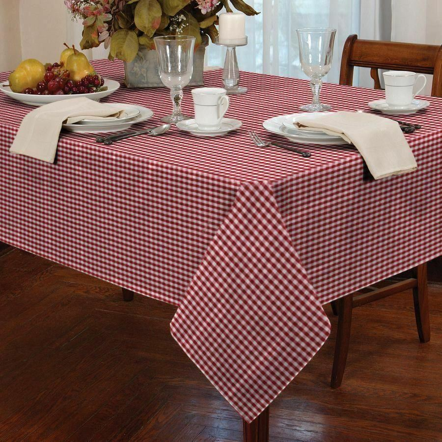 Gingham Check Red White Round 60 152cm Table Cloth Ebay