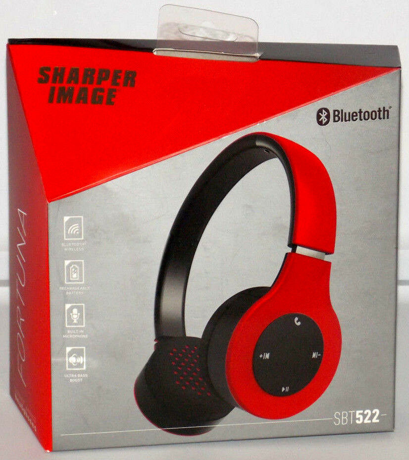 Sharper Image Bluetooth Wireless Earbuds: Sharper Image Red Universal Bluetooth Wireless Stereo Headphones With Microphone