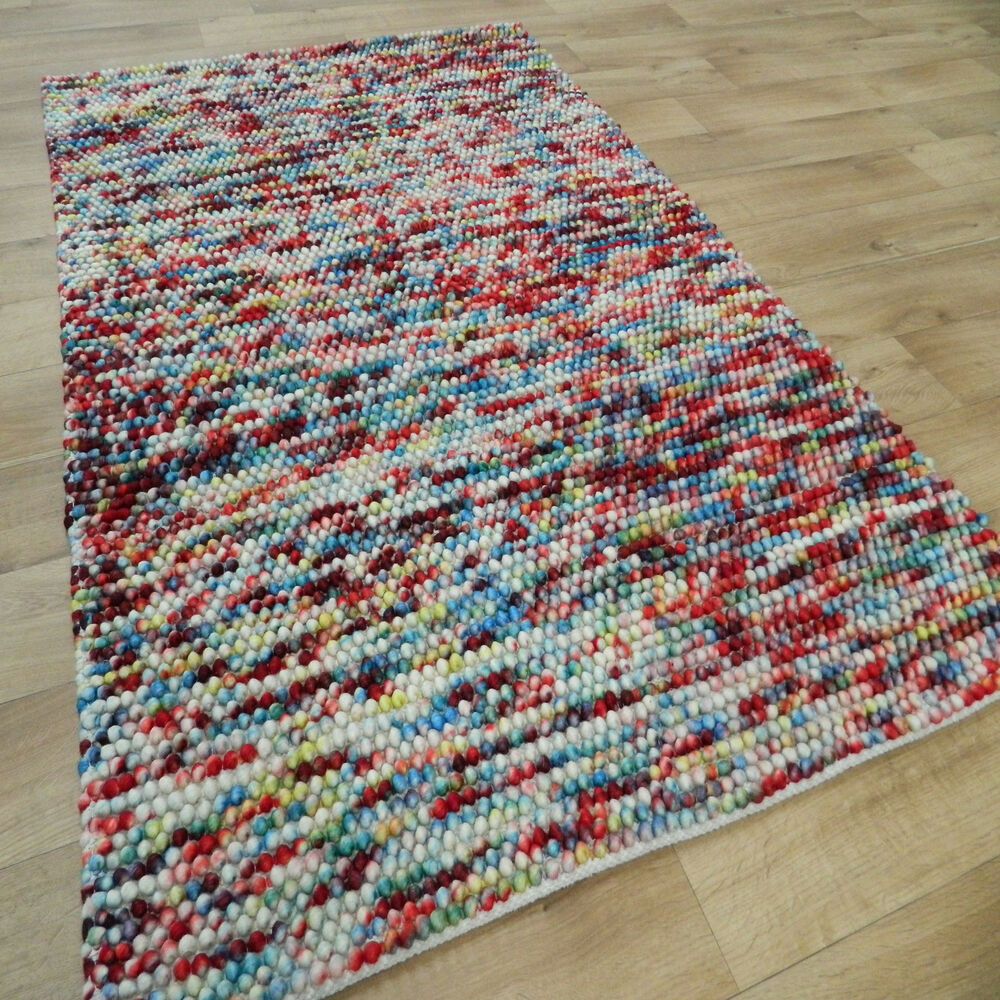 Wool Loop Rug: Sami Multi Coloured Modern Wool Rugs