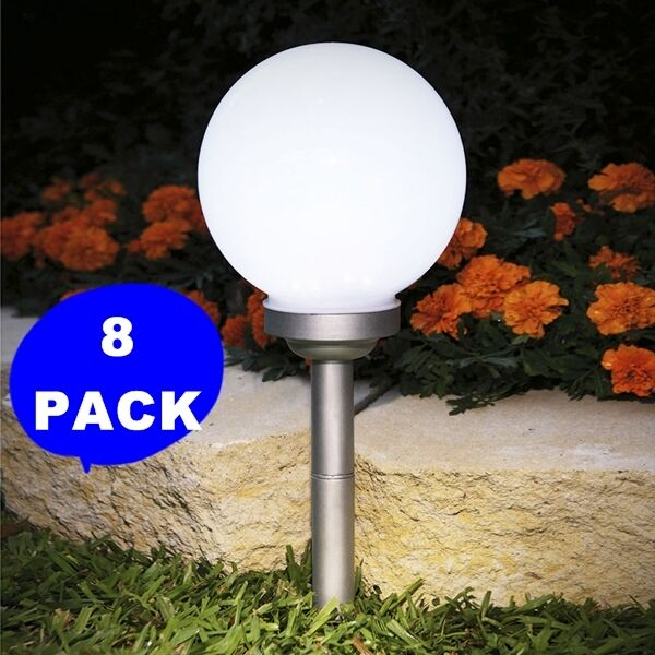 8 Pack 5 9 Quot X5 9 Quot Solar Stake Globe Bright White Led Garden