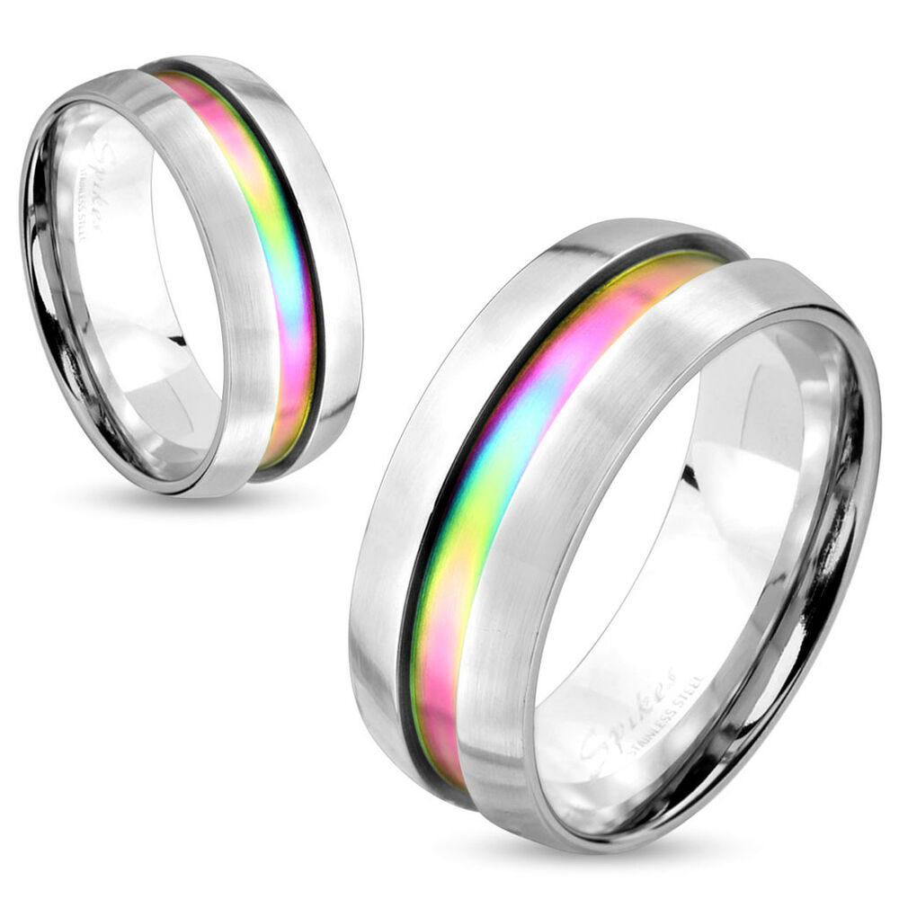 Rainbow Wedding Rings: Mens/Womens Silver W/Rainbow Center-Wedding Band Ring,Size