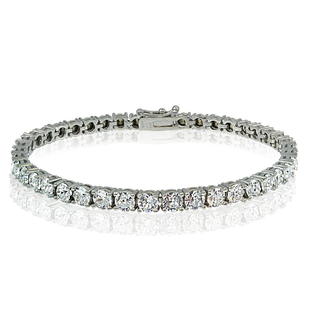 sterling silver 4mm round tennis bracelet with swarovski elements ebay. Black Bedroom Furniture Sets. Home Design Ideas