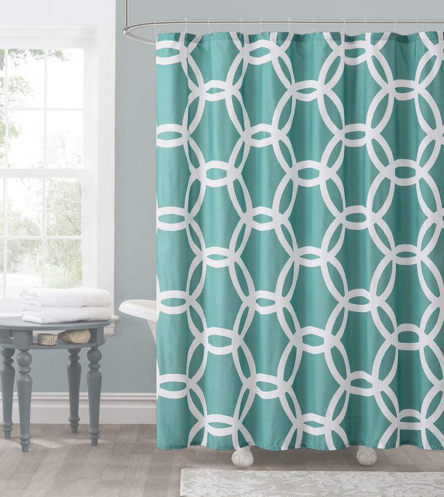 Teal And White Embossed Fabric Shower Curtain Chain