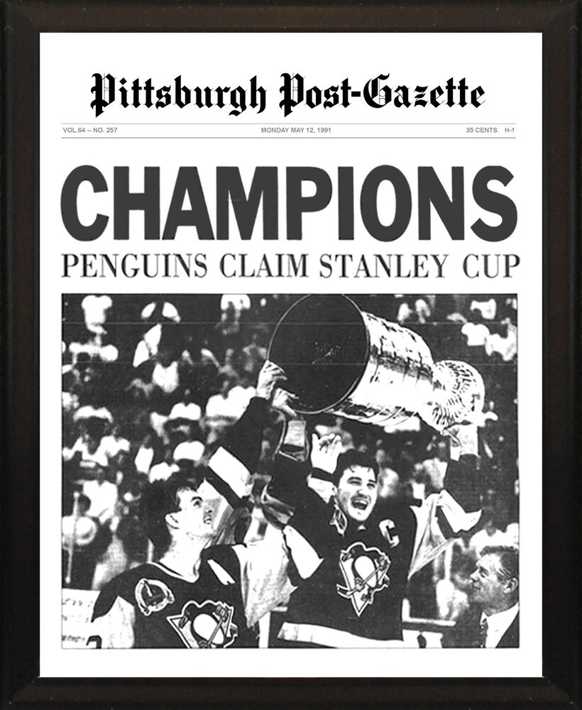 PITTSBURGH PENGUINS 1991 Stanley Cup Champs 8x10 Plaque
