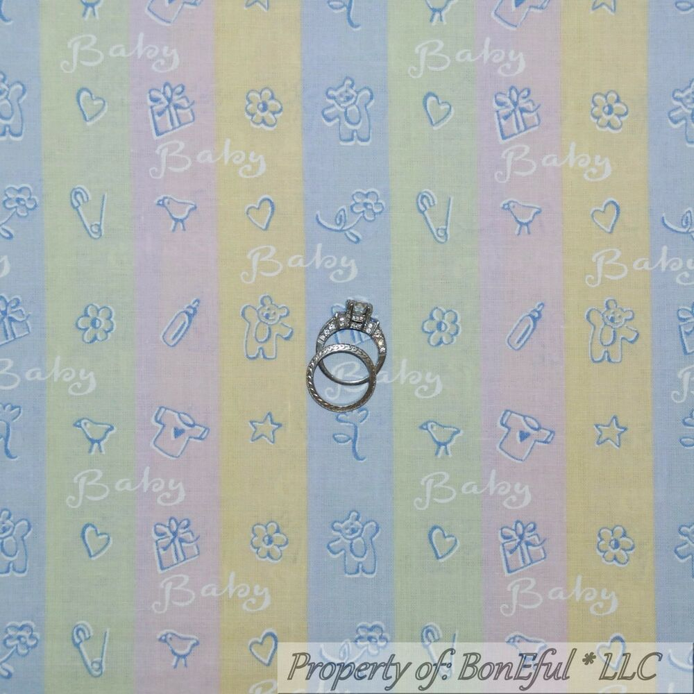 Boneful fabric fq cotton quilt blue pink yellow green for Yellow baby fabric